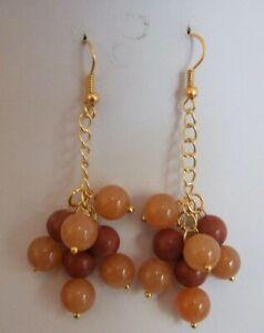 Jasper & Quartzite Bead & Gold Plated Chain Earrings on Gold Plated Ear Hooks