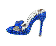 Blue Crystal High Heeled Shoe Brooch Pin Costume Jewelry NEW