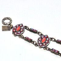 REMY DIS  Bracelet d'artiste en bronze patiné et cabochons de verre bijou A1