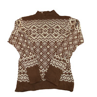 VINTAGE North Cape Womens Knit Jumper Medium Brown Wool Patterned Knit Pullover