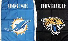 Miami Dolphins vs Jacksonville Jaguars NFL House Divided Flag 3x5 ft Banner New