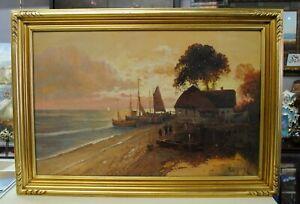 """""""On Frisian Coast"""" by M. Orthez, 27.75x39.75, Original Oil, Original Frame"""