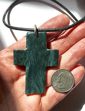 Blue Nephrite Washington Jade Slab Cross Carved Pendant
