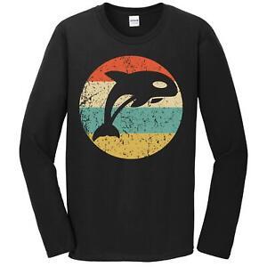 Men's Killer Whale Shirt - Retro Orca Whale Icon Long Sleeve T-Shirt