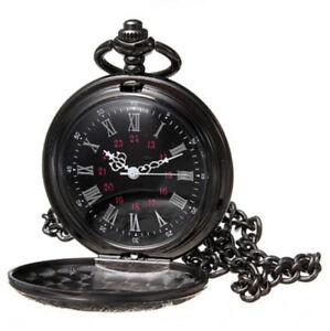 Gothic Vintage Antique Steampunk Quartz Necklace Pendant Pocket Watch Black New