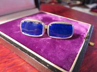 Auffällige Silber Manschettenknöpfe Email Vintage Retro Blau Ultramarin Schlicht