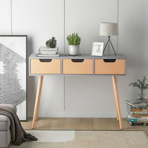 Home Desk with 3-Drawers Dressing Table Office Computer Desk 100x34x77cm