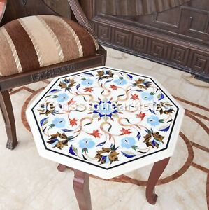 White End Top Table With Wooden Stand Pietradura Inlay Floral Design Patio Décor