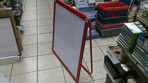Red Dry Wipe Board with Built in table top easel 80cm x 80 cm-Solid Construction