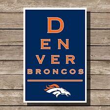 "Denver Broncos Art Football NFL Eyechart Poster Man Cave Decor 12x16"""