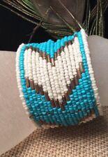 Sou'west Mex Ethnic Tribal Artisan Turquoise White Micro Bead Wide Cuff Bangle