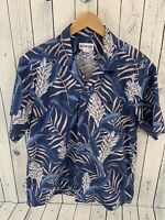 VTG ALOHA LINE Hawaiian Shirt Blue Floral Size Medium 100% Cotton J3