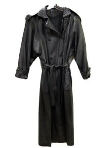 Vintage Black Leather Trench Coat classic Matrix Steampunk W/belt Size Medium