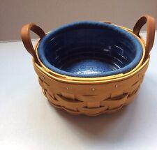 Longaberger 2002 Saffron Round Basket - Cornflower Blue Liner + Clear Protector