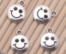 Wholesale 400PCS Tibetan silver Crafts Smile Face Jewelry Making Charms Pendants