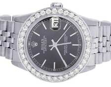 Ladies Rolex Midsize Datejust 68240 31MM Oyster Black Dial Diamond Watch 2.5 Ct