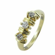14ct Yellow Gold Fancy Three Stone 0.15ct Diamond Ring 3 Grams Size N 1/2 US 7
