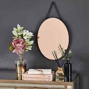 Rose Gold Copper Oval Hanging Wall Mirror Hallway Bed/Bathroom Modern Wall Decor