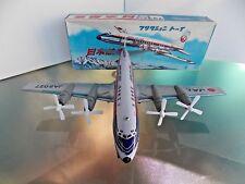VINTAGE NIKO TIN FRICTION AIRPLANE LOCKHEED JAL TOY WITH ORIGNAL BOX JAPAN