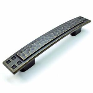 "Dark Antique Brass Hickory P7525-WDA Arts & Crafts Cabinet Pull Handle 3""/3.75"""