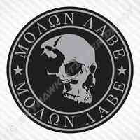 Molon Labe Skull Sticker Vinyl Decal Car Truck Motorcycle Don't Tread On Me Gun