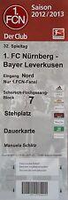 Ticket 2012/13 1. FC Núremberg-bayer leverkusen