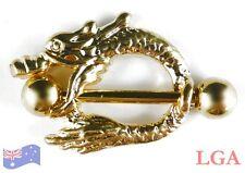 1 x Gold Pl Dragon Nipple Bar Shield Body Piercing Jewellery Male 14g 8mm hole C
