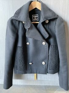 Chanel Navy Wool Vintage Peacoat Double Breasted Jacket S