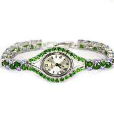 Sterling Silver 925 Genuine Natural Chrome Diopside & Tanzanite Watch 7.25 Inch