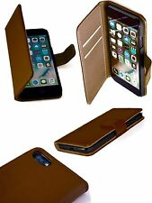 Traditional Leather Book Case & Wallet Soft Inner Cover for iPhone 7 Brown
