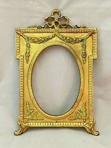 Antique Edwardian Gilt Cast Iron Picture Frame Hand Painted