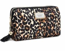 VICTORIA'S SECRET LEOPARD CHEETAH ANIMAL MakeUp Cosmetic bag Case larger set new