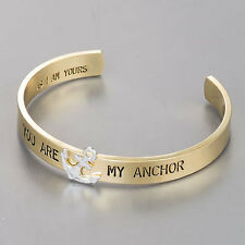 Gold Silver You Are My Anchor Engraved Open Cuff Statement Bangle Bracelet