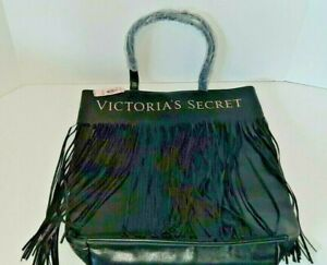 Victoria's Secret Black Fringe Signature Tote Bag New With Tag Extra Large NWT