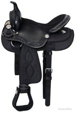 17 Inch Western Pro Trail Mule Saddle - Black Leather and Synthetic - 17 pounds