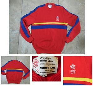 VTG 1988 WINTER OLYMPIC SWEATER Red White Blue Yellow White Ram Brand Size S