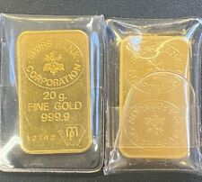 Vintage 2 x 20gm Gold Bar Swiss Bank Corporation, Sequentially # Bars with COA
