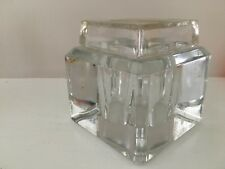 Vintage Glass Inkwell Jar Desk Writing Accessory Cube Art Deco Bottle Excellent