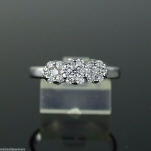 $1,750 14K White Gold 0.50ct Round Cluster Diamond Engagement Ring Size 7.5