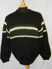 Rare 90s J CREW THICK HAND KNIT CHUNKY CREWNECK SWEATER wool MENS L charcoal
