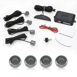 Car Parking Sensors LED Display Car Reverse Backup Kit System 4 Sensors Gray