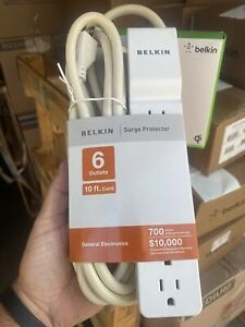 Belkin Surge Protector, 6 Outlets, 360 Degree Rotating Plug, 10 Ft Cord, White