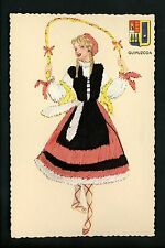 Embroidered clothing postcard Artist Gumier Spain Guipuzcoa woman costumes