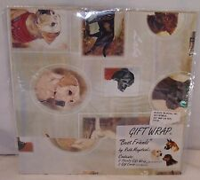 Ruth Maystead New Unopened Gift Wrap Wrapping Paper Best Friends Dogs Lab