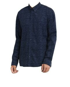 New Ben Sherman Men's Large Long Sleeve Paisley Button Down Shirt - Navy Blazer