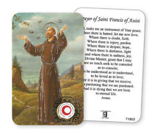SAINT FRANCIS LAMINATED PRAYER CARD WITH RELIC - STATUES CANDLES PICTURES LISTED