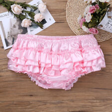 Sexy Men's Soft Shiny Satin Ruffles Lolita Maid Sissy Skirted Bloomers Underwear
