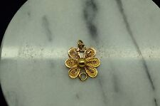 70% YELLOW GOLD FILIGREE BEAD FLOWER DESIGN PENDANT CHARM FINDING CONNECTOR