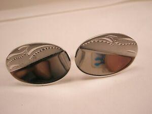 -Engraved Matte & Polished Sterling Silver Vintage ANSON Cuff Links