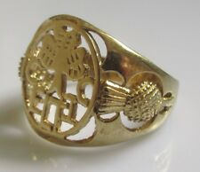 """Vintage 9ct Yellow Gold """"Celtic"""" 3 Leaf Clover Oval Signet Ring Size T"""